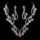 Bridal Wedding Jewelry Set Necklace Crystal Rhinestone Curly Design Silver  JS00215RDCL