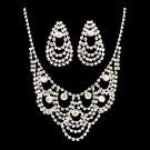 Bridal Wedding Jewelry Set Necklace Earring Crystal Rhinestone Bib Drape Silver  JS00229RDAB