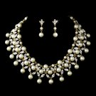 Bridal Wedding Jewelry Set Austrian Crystal Rhinestone Beautiful Gold Ivory  JS00248GDCLIV