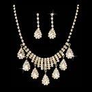 Bridal Wedding Jewelry Set Crystal Rhinestone Dangle Teardrop Necklace Gold  JS00261GDCL