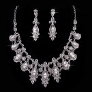 Bridal Wedding Jewelry Set Crystal Rhinestone Classic Vintage Necklace Silver  JS00280RDCL