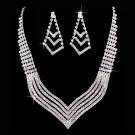 Bridal Wedding Jewelry Set Crystal Rhinestone Stylish V Drop Necklace Silver  JS00282RDCL