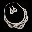 Bridal Wedding Jewelry Set Crystal Rhinestones Wavy Curl Bib Necklace Silver  JS00298RDCL