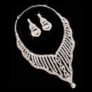 Bridal Wedding Jewelry Set Crystal Rhinestones Wavy Y-Drop Bib Necklace Silver  JS00300RDCLAB