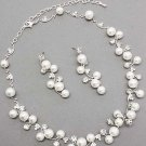 Bridal Wedding Jewelry Set Austrian Crystal Rhinestone Pearl White  JS00096