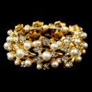 Bridal Wedding Jewelry Crystal Rhinestone Floral Leaf Vine Stretch Bracelet Gold  BR00304GD