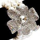 Bridal Wedding Jewelry Floral Crystal Pearls Stretch Bracelet Silver Ivory Cream  BR00313RDCLCM