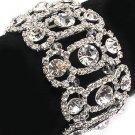 Bridal Wedding Jewelry Crystal Rhinestone Vintage Stretch Bracelet Silver Clear  BR00319RDCL