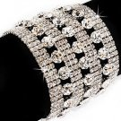 Bridal Wedding Jewelry Crystal Rhinestone Extra Wide Stunning Bracelet Silver  BR00321RDCL