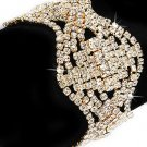 Bridal Wedding Jewelry Crystal Rhinestone Classic Wave Design Wide Bracelet Gold  BR00322GDCL