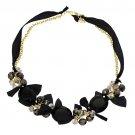 Handmade Crystal Satin Ribbon Bow Necklace Black NE00010-BK