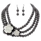 Flower Bead Strand Necklace Earring Set Hematite JSNE147-HE