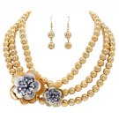 Flower Bead Strand Necklace Earring Set Gold JSNE147-GD