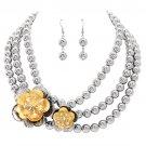 Flower Bead Strand Necklace Earring Set Silver  JSNE147-SV