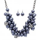 Pearl Crystal Pave Ball Cluster Jewelry Set Hematite JSNE159-HM