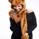 Faux Fur Plush 3D Full Animal Hood with Pocket Hat Scarf Mitten Fox HT00013LGFX