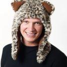 Faux Fur Plush 3D Half Animal Hood Hat Ear Flaps Leopard HT00014SHLP