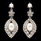 Bridal Wedding Crystal Rhinestone Pearl Elegant Dangle Earrings Silver Ivory  ER00394RDCLIV