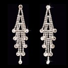 Bridal Wedding Jewelry Crystal Rhinestone Layered Linear Dangle Earrings Silver  ER00423RDCL