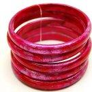 Fashion Lucite 5 Pcs Multi Strand Bangle Bracelet Pink  BR00218-PK