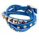 Blue 3-Effect Stud Italian Calf Leather Wrap Bracelet  BR00261-BL