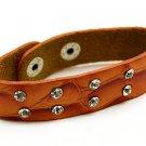 Crystal Studs Faux Alligator Leather Wristband Cuff Bracelet Snap Closure Orange  BR0089RDOR