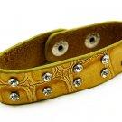 Crystal Studs Faux Alligator Leather Wristband Cuff Bracelet Snap Closure Yellow  BR0089RDMU