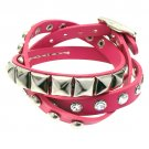 Fuchsia 3-Effect Stud Italian Calf Leather Wrap Bracelet  BR00261-PK