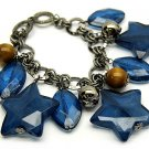 Lucite Star Charm Metal Link Wood Bead Bracelet Blue   BR00131