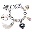Heart Bow Charm Crystal Gem Toggle Link Bracelet Multi   BR00287-MT