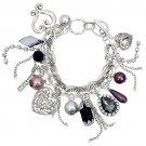 Multi Charm Chain Heart Crystal Gem Toggle Bracelet   BR00293-SV