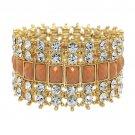 Crystal Stretch Cuff Vintage Fashion Bracelet Gold  BR00285-BR