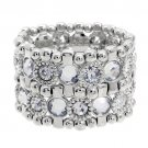 Crystal Vintage Look Stretch Fashion Bracelet Silver Clear  BR00277-CL