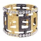 Fashion Square Linked Crystal Stretch Bracelet Gold  BR00280-GD
