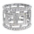 Fashion Square Linked Crystal Stretch Bracelet Silver  BR00280-SV