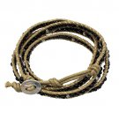 Beaded Brown String Cord with Button Knot Closure Wrap Bracelet Black  BR00296BK
