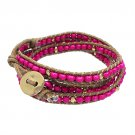 Beaded Brown String Cord with Button Knot Closure Wrap Bracelet Fuchsia Pink  BR00296PK