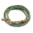 Beaded Brown String Cord with Button Knot Closure Wrap Bracelet Green BR00296GN
