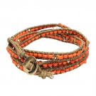 Beaded Brown String Cord with Button Knot Closure Wrap Bracelet Orange BR00296OR