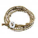 Beaded Brown String Cord with Button Knot Closure Wrap Bracelet White BR00296WT