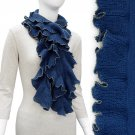 Beautiful Ruffle with Gold Trim Fashion Cold Weather Scarf Blue SF00279BL
