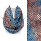 Duo Tone Ombre Furry Loop Infinity Beautiful Fashion Scarf Brown Blue  SF00283BRBL
