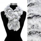 Duo Tone Soft Faux Fur Ruffle Side Pull Through Fashion Scarf (Black) SF00288BK