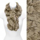 Solid Soft Faux Rabbit Fur Ruffle Pull Through Cold Weather Fashion Scarf Beige SF00284BE