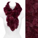 Solid Soft Faux Rabbit Fur Ruffle Pull Through Cold Weather Fashion Scarf (Burgundy) SF00284BU