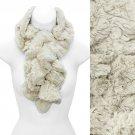 Solid Soft Faux Rabbit Fur Ruffle Pull Through Cold Weather Fashion Scarf Cream SF00284CM