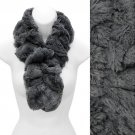 Solid Soft Faux Rabbit Fur Ruffle Pull Through Cold Weather Fashion Scarf Gray SF00284GY