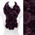 Solid Soft Faux Rabbit Fur Ruffle Pull Through Cold Weather Fashion Scarf Purple SF00284PU