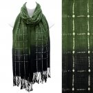 Beautiful Chic Black Ombre Woven Fringe Fashion Scarf Green  SF00285GN