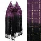 Beautiful Chic Black Ombre Woven Fringe Fashion Scarf Purple SF00285PU